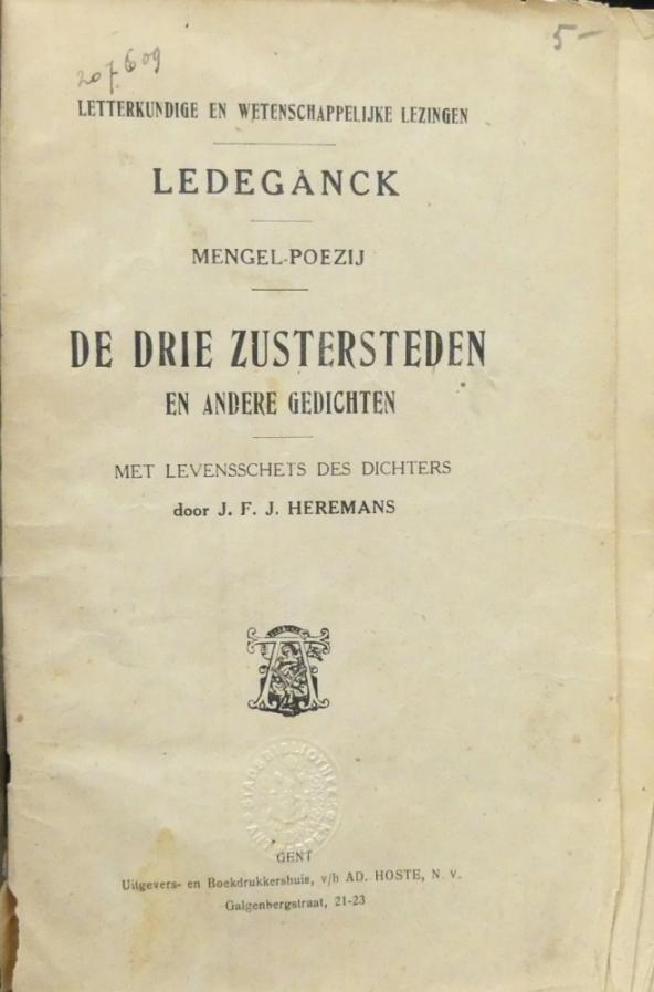 Ledeganck Karel Lodewijk Schrijversgewijs